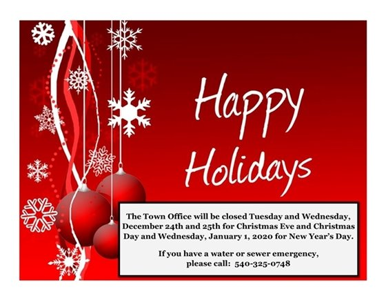 Town Office closed 12/24, 12/25, 1/1/20