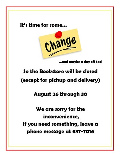 Second Chance Bookstore flyer