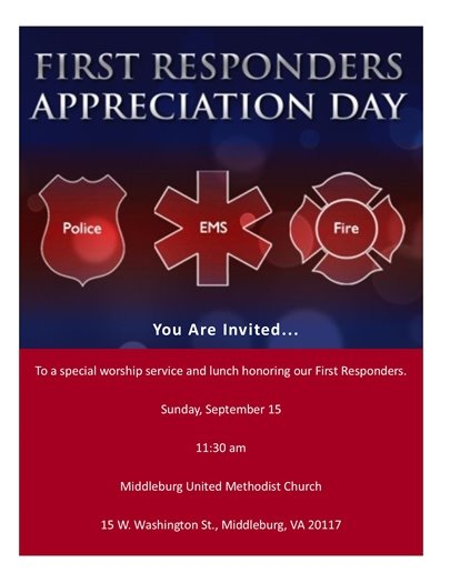 MB United Methodist Church, First Responders